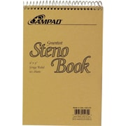 "Ampad Steno Notebook, 6"" x 9"", Gregg Ruled, White, 60 Sheets/Pad (25-470)"