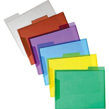 Staples 3-Tab Translucent Poly File Folders, Assorted, 6/Pack (10847)