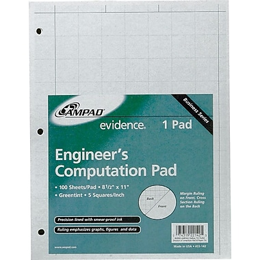 Ampad Evidence Engineer's 5 x 5 Quadrille Pad, 100 Sheets/Pad