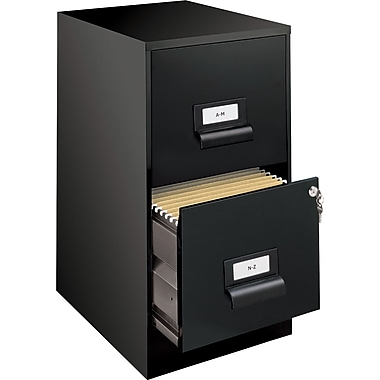 Office Designs Vertical File Cabinet w/ Integrated Label Holder, 18in., 2-Drawer, Letter Size, Black