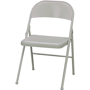 Sudden Comfort Metal Folding Chairs, Beige, 4/Pack