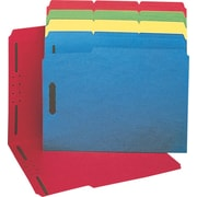 Staples® Colored Reinforced Tab Fastener Folders, Letter, Assorted, 50/Box