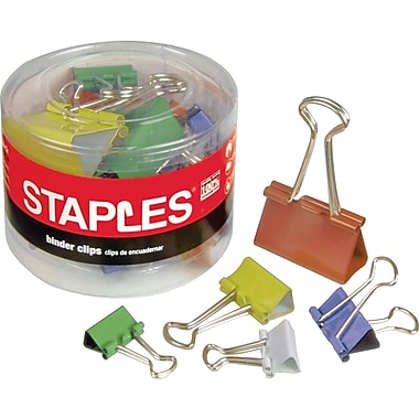 Staples Colored Metal Binder Clips, Assorted Sizes and Capacities