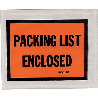 Duck® Full Face Packing List Envelopes, 4-1/2