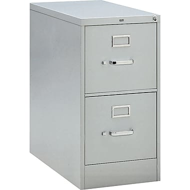 HON 210 Series Vertical File Cabinet, 28 1/2in. 2-Drawer, Letter Size, Light Gray