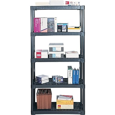 Contico Plastic Shelving, 5 Shelves,  Black, 72in.H x 36in.W x 18in.D
