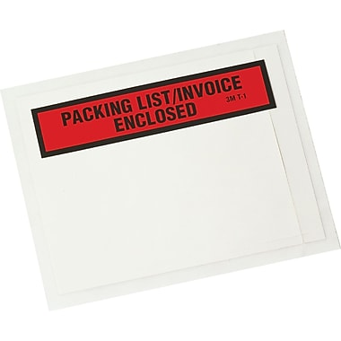 Scotch® Panel Face Packing List Envelopes, 4-1/2in. x 5-1/2in., in.Packing List/Invoice Enclosedin.