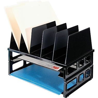 Officemate® Letter Tray/Sorter Combo, 7 Compartments, Black, 10 1/4