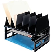 Officemate® Letter Tray/Sorter Combo, 7 Compartments, Black, 10 1/4H x 9 1/8W x 13L
