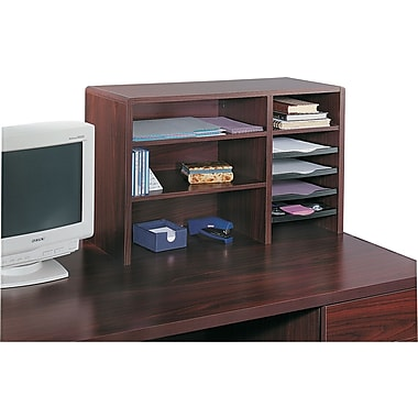 Safco® 7-Compartment Wood Desktop Organizer, Medium Oak
