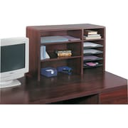 Safco® 7-Compartment Wood Desktop Organizer, Mahogany