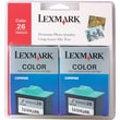 Lexmark 26 Color Ink Cartridges (10N0139), 2/Pack