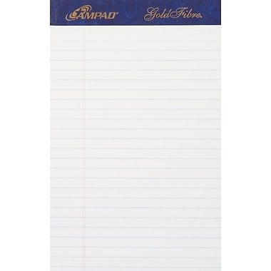 Ampad® Gold Fibre®, 5in. x 8in., White, Perforated Notepad, Medium Ruled, 12/Pack