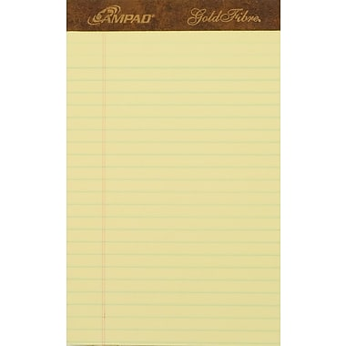 Ampad® Gold Fibre®, 5in. x 8in., Canary, Perforated Notepad, Medium Ruled, 12/Pack