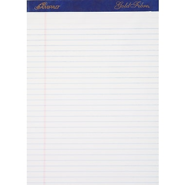 Ampad® Gold Fibre®, 8-1/2in. x 11-3/4in., White, Perforated Notepad, Wide Ruled, 12/Pack