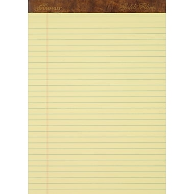 Ampad® Gold Fibre®, 8-1/2in. x 11-3/4in., Canary, Perforated Notepad, Wide Ruled, 12/Pack