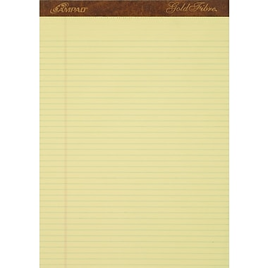 Ampad® Gold Fibre®, 8-1/2in. x 11-3/4in., Canary, Perforated Notepad, Narrow Ruled, 12/Pack