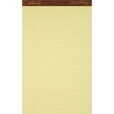 Ampad® Gold Fibre®, 8-1/2in. x 14in., Canary, Perforated Notepad, Wide Ruled, 12/Pack