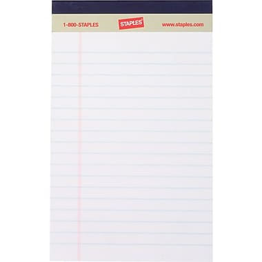 Staples®, 5in. x 8in., White, Perforated Notepads, Narrow Ruled, 12/Pack
