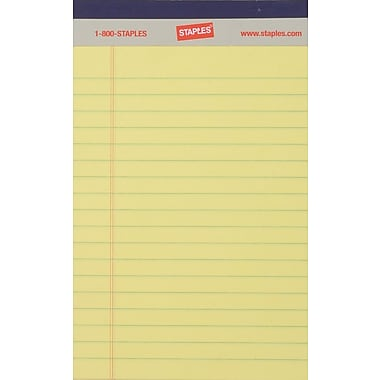 Staples® Perforated Notepad, Narrow Ruled, Canary, 5in. x 8in., 12/Pack