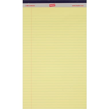 Staples® Perforated Notepads, Wide Ruled, Canary, 8-1/2in. x 14in., 12/Pack