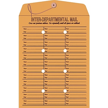 Staples® 10in. x 13in. Brown Kraft Button-and-String Inter-Departmental Envelopes, 100/Box