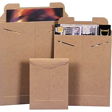 Staples StayFlat Kraft Mailers, 9in. x 11-1/2in., 100/Case