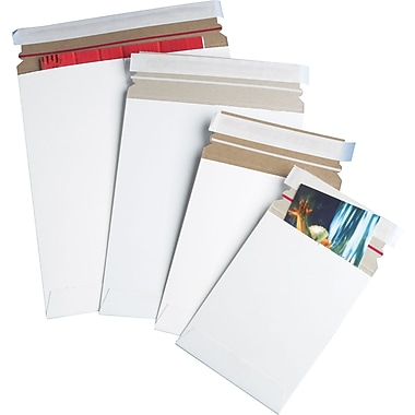 Staples® QuickStrip StayFlat White Mailers, 6in. x 8in.
