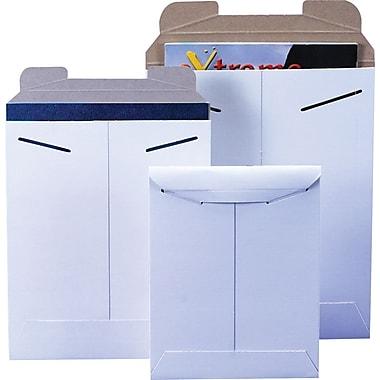 Staples® Tab-Lock Flat Mailers, White, 9-3/4