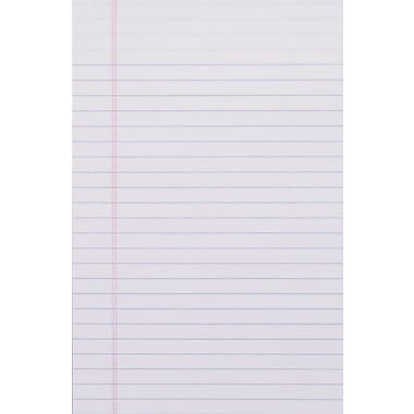 Staples®, 5in. x 8in., White, Glue-Top Notepad, Narrow Ruled, 12/Pack