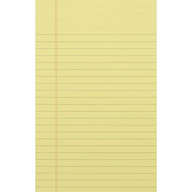 Staples®, 5in. x 8in., Canary, Glue-Top Notepad, Narrow Ruled, 12/Pack