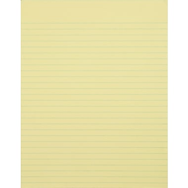 Staples®, 8-1/2in. x 11in., Canary, Glue-Top Notepad, Wide Ruled, 12/Pack