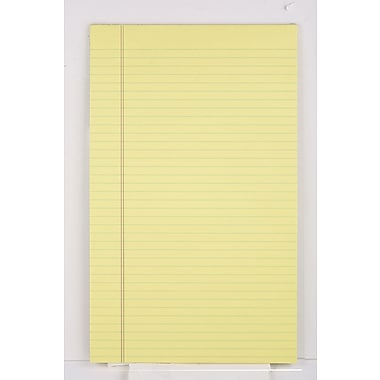 Staples®, 8-1/2in. x 14in., Canary, Glue-Top Notepad, Wide Ruled, 12/Pack