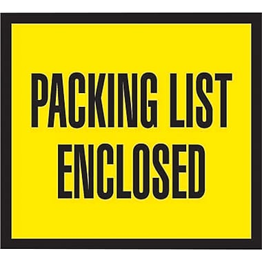 Staples Packing List Envelopes, 4-1/2in. x 5-1/2in., Yellow Full Face in.Packing List Enclosedin.
