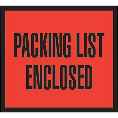 Staples Packing List Envelopes, 4-1/2in. x 5-1/2in., Red Full Face in.Packing List Enclosedin., 1000/Case