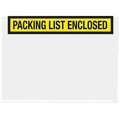 Staples Packing List Envelopes, 7in. x 5-1/2in., Yellow Panel Face in.Packing List Enclosedin., 1000/Case