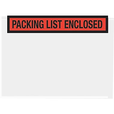 Staples Packing List Envelopes, 7in. x 5-1/2in., Red Panel Face in.Packing List Enclosedin., 1000/Case
