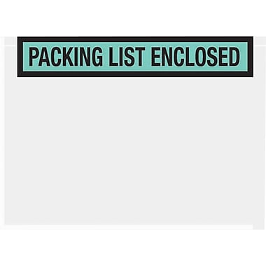 Staples Packing List Envelopes, 7in. x 5-1/2in., Green Panel Face in.Packing List Enclosedin., 1000/Case