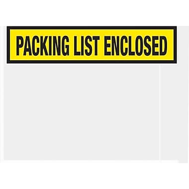 Staples Packing List Envelopes, 4-1/2in. x 5-1/2in., Yellow Panel Face in.Packing List Enclosedin.