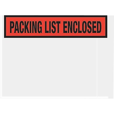 Staples® Packing List Envelopes, 4-1/2in. x 5-1/2in., Red Panel Face in.Packing List Enclosedin., 1000/Case