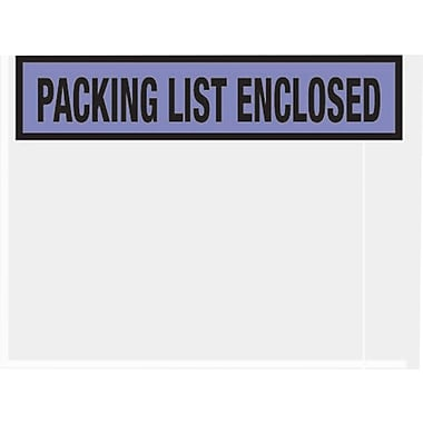 Staples Packing List Envelopes, 4-1/2in. x 5-1/2in., Blue Panel Face in.Packing List Enclosedin., 1000/Case