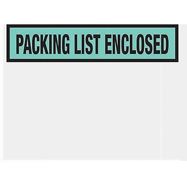 Staples® Packing List Envelopes, 4-1/2in. x 5-1/2in., Green Panel Face in.Packing List Enclosedin., 1000/Case