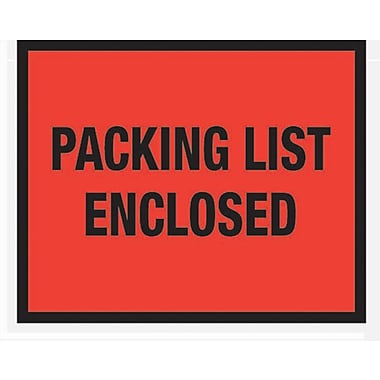 Staples Packing List Envelopes, 7in. x 5-1/2in., Red Full Face in.Packing List Enclosedin., 1000/Case