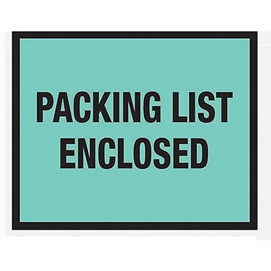 Staples Packing List Envelopes, 7in. x 5-1/2in., Green Full Face in.Packing List Enclosedin., 1000/Case