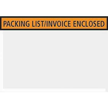 Staples® Packing List Envelopes, 4-1/2in. x 5-1/2in., Orange Panel Face in.Packing List/Invoice Enclosedin.