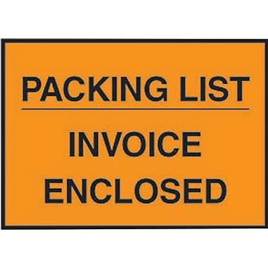 Staples® Packing List Envelopes, 4-1/2in. x 5-1/2in., Orange Full Face in.Packing List/Invoice Enclosedin., 1000/Case
