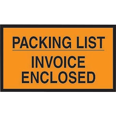 Staples Packing List Envelopes, 7in. x 10in., Orange Full Face in.Packing List/Invoice Enclosedin.