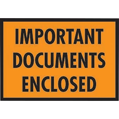 Staples Packing List Envelopes, 5-1/4in. x 7-1/2in., Orange Full Face in.Important Document Enclosedin., 1000/Case