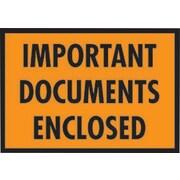 "Staples® Packing List Envelopes, 5-1/4"" x 7-1/2"", Orange Full Face ""Important Document Enclosed"", 1000/Case"