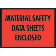 "Staples® Packing List Envelopes, 7"" x 5-1/2"", Red Full Face ""M.S.D.S. Enclosed"", 1000/Case"